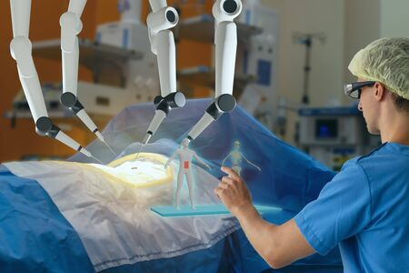 smart medical health care concept with ar vr, surgery robotic machine use allows doctors to perform many types of complex procedures with more precision, flexibility and control than is possible