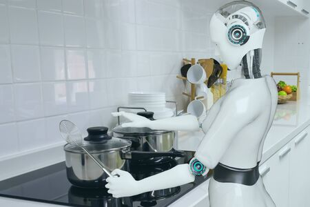 cooking robot artificial intelligence to cook food in futuristic concept Фото со стока