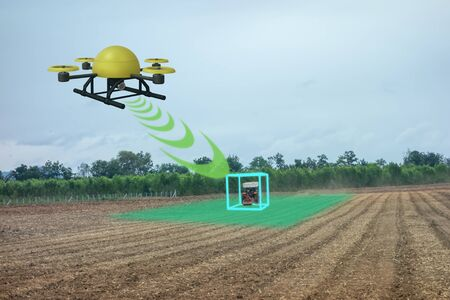 drone for agriculture, drone use for various fields like research analysis, safety,rescue, terrain scanning technology, monitoring soil hydration ,yield problem and send data to smart farmer on tablet Фото со стока