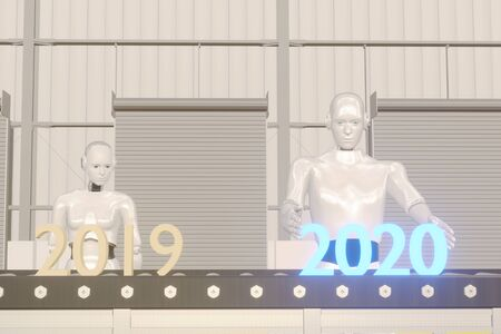 3d rendering 2020 year artificial intelligence or ai futuristic concept,  assistant robot try to put number of new year coming 2020 on operation line, industry 4.0 trend of automation robot in 2020 Фото со стока