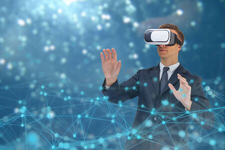 business man use augmented mixed virtual reality technology with artificial intelligence concept