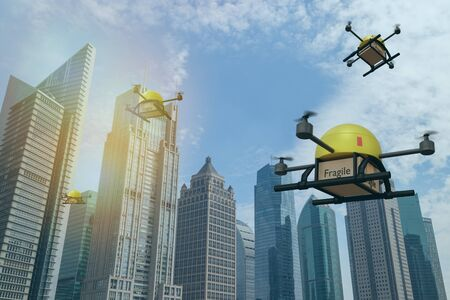 drone delivery use for carry deliver packages to customers with in short times the package including medicine, food, etc. and drone will identify person with biometrics, facial recognition technology Фото со стока