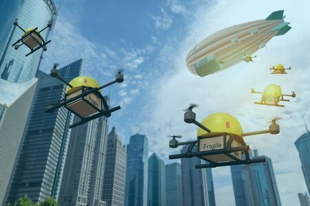 drone deploy from blimp carry deliver packages to customers with in short times the package including medicine, food, etc. and drone will identify person with biometrics, facial recognition technology