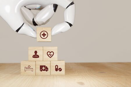 3d rendering Robot hand pick smart health care, insurance concept, wooden cube symbolize insurance to protect or cover person, Property ,Liability, reliability,car, life, business, health, house, Фото со стока
