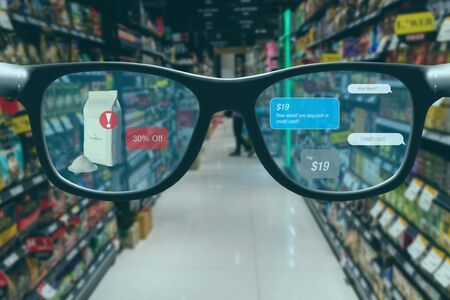 smart retail concept, A customer can check what data of real time insights into shelf status which report on a smart glasses from artificial intelligence(ai) smart glasses while scanning goods, price