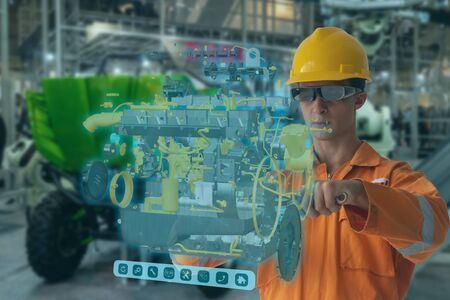 Engineering maakt gebruik van augmented mixed virtual reality, integreert kunstmatige intelligentie, combineert deep, machine learning, digital twin, 5G, industrie 4.0-technologie om de kwaliteit van de managementefficiëntie te verbeteren Stockfoto
