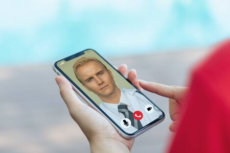 smart medical concept, the patient contact or talk with doctor telemedicine technology on smart device with combine 5g, machine learning, artificial intelligence, augmented reality, digital twin,