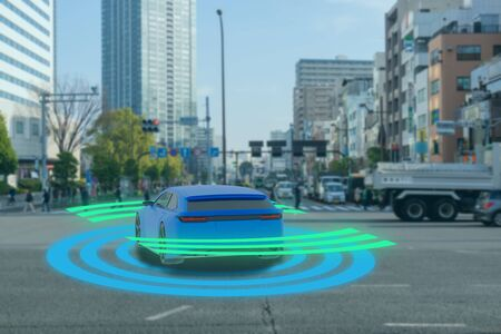 iot smart automotive Driverless car with artificial intelligence combine with deep learning technology. self driving car can situational awareness around the car, letting it navigate itself 360 degree Фото со стока