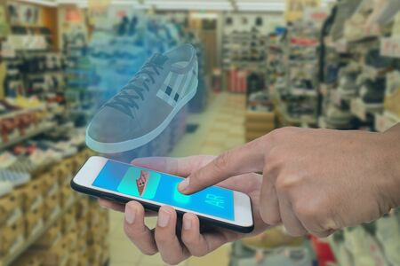 smart retail use augmented mixed virtual reality technology to help shopping in virtual world combine with artificial intelligence combine deep, machine learning, digital twin, 5G, industry 4.0 tech Фото со стока