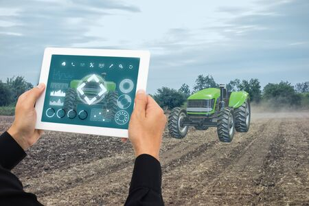 iot smart farming, agriculture in industry 4.0 technology with artificial intelligence and machine learning concept. it help to improve, categorized, specified goal, solve problem, keep goal, predict Banco de Imagens