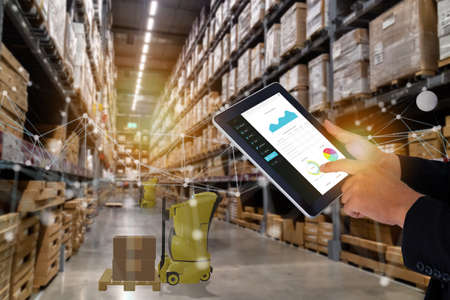 smart retail concept, autonomous robot service use for move box in Stores that stock goods on shelves with artificial intelligence, 5g, digital twin, quantum computer, machine learning, blockchain