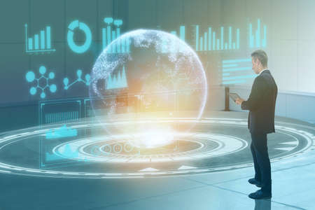 digital transformation technology concept business man using augmented mixed virtual reality combined artificial intelligence to make industry business growth improve quality efficiency make profit Imagens