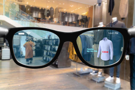 Futuristic technology trend concept in smart glasses.user can use smart glasses with augmented mixed virtual reality in retail to check compare new product , price, promotion for better experience