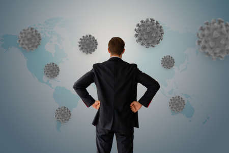 man look on corona virus  covid-19 Banco de Imagens