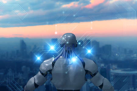 Futuristic Artificial intelligence concept. robot use technology including digital twin, 5g, big data, artificial intelligence, machine deep learning, augmented mixed virtual reality in communication
