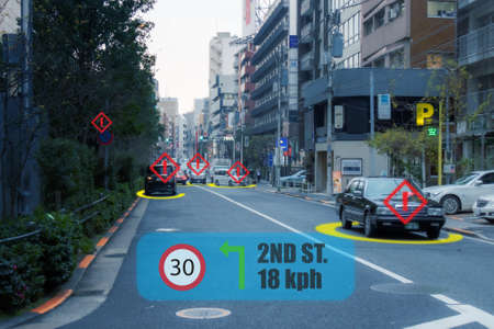 iot smart automotive Driverless car with artificial intelligence combine with deep learning technology. self driving car can situational awareness around the car, letting it navigate itself 360 degree Banco de Imagens