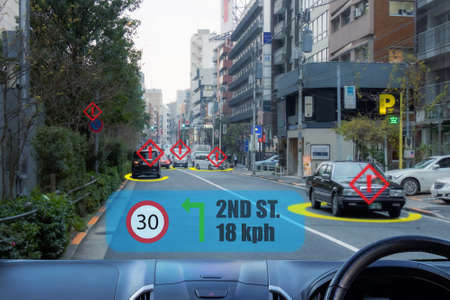 iot, internet of things smart car concepts, Head up display (HUD). Car use augmented reality to show the speed, navigation ,the distance ,alert, between the car