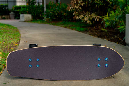 A black server skate has a black top and black wheels resting on a cement floor in a garden.