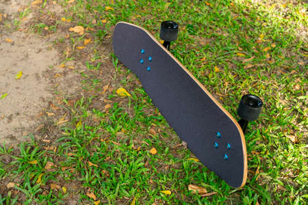 A black Surf Skate has a black top and black wheels placed in a lawn in a park.