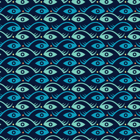 Abstract creative fish and eye seamless pattern Vector