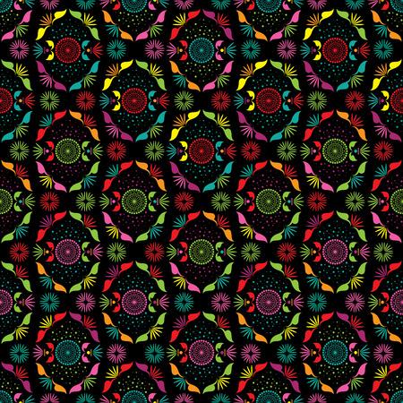 full color: flower pattern full color on black background Illustration