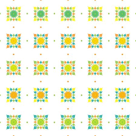 full color: flower thai and leaf style. tile thai pattern full color