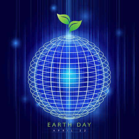 digitally generated image: Earth Day: Earth digitally generated image of blue light and stripes moving fast over blue background