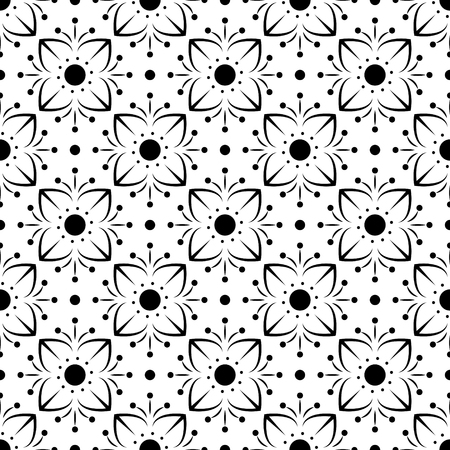 fondle: flower seamless pattern background black and white