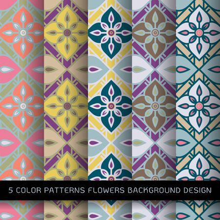 5 color patterns flowers background design. floral pattern in grid and seamless pattern design Illustration
