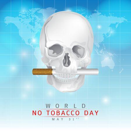 no pase: 31 de mayo D�a Mundial Sin Tabaco: Crear una imagen de cr�neo y los cigarrillos de paso la boca en un fondo azul. Vectores