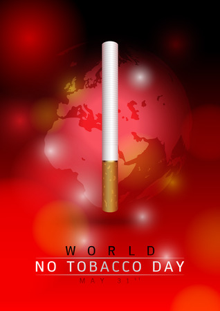 31st: May 31st World no tobacco day: Create a cigarettes and the earth image on a red background.
