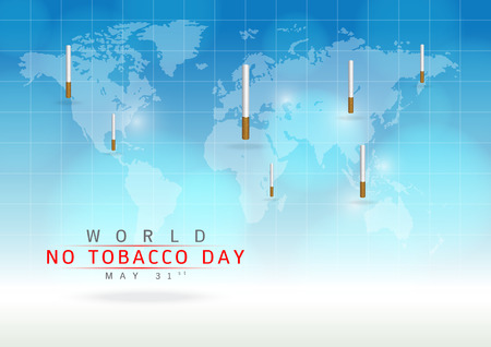31st: May 31st World no tobacco day: Create a cigarettes image on a blue background. World Map: Elements of this image furnished by NASA Illustration
