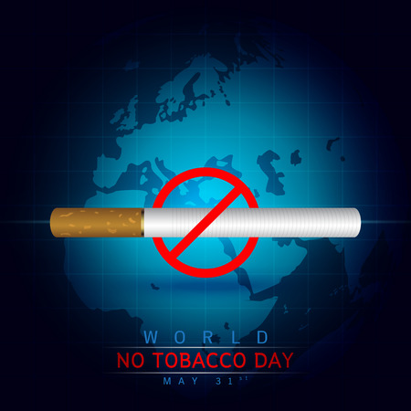 世界没有烟草日:在深蓝背景创造一个香烟图象。