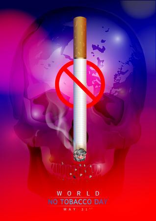 世界没有烟草日:在深红色和蓝色上创造一个香烟和头骨图像。