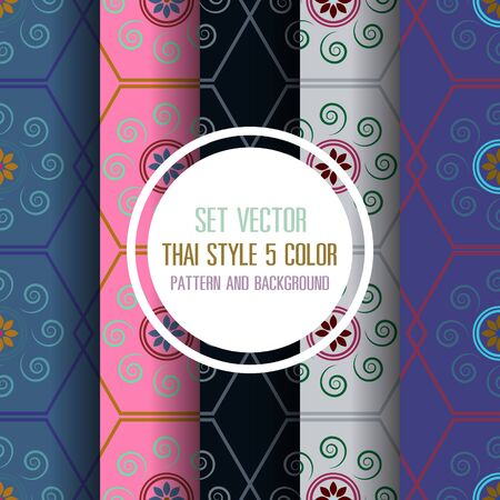 thai style: set vector thai style 5 color pattern and background Illustration