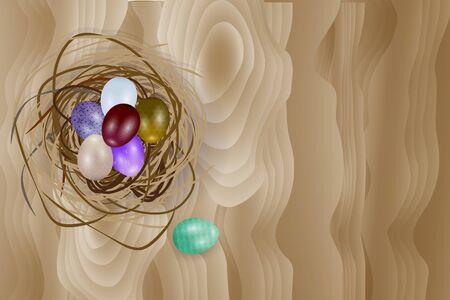 vecter: Easter eggs in nest on light brown wooden background. Vecter