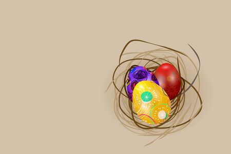 light brown: Easter eggs in nest on light brown background Illustration