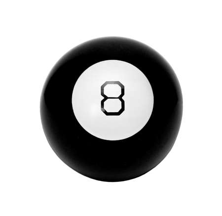 black billiard ball with the eight on a white background
