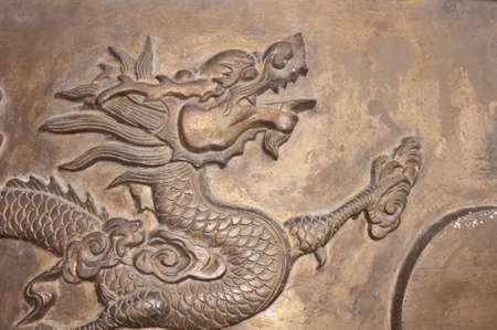 head of chinese dragon on incense burner photo