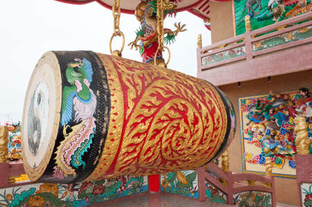 chinese drum: Huge drum in chinese  temple in Thailand Stock Photo