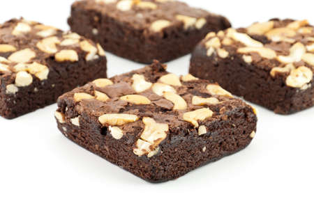brownie: cashew nut brownie isolated on white background
