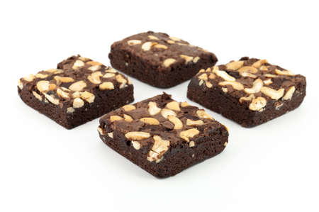 obesity kids: cashew nut brownie isolated on white background