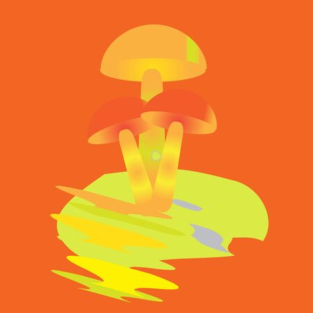 mushrooms with a red hat on a green leaf on an orange background