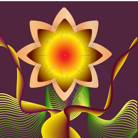 vector illustration with yellow abstract flower on purple background