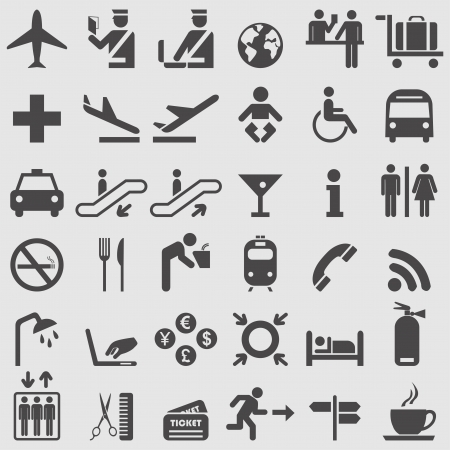 Airport icons set  Vector