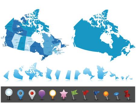 mapa politico: Canadá - mapa muy detallado Todos los elementos están separados en capas editables claramente etiquetados