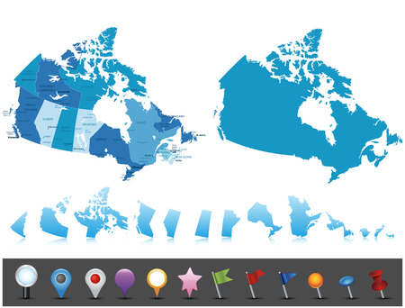 Canada - highly detailed map All elements are separated in editable layers clearly labeled Иллюстрация