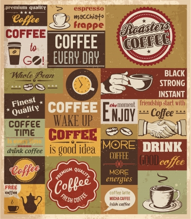 Collection of Coffee Design Elements Vector Illustration  Vectores