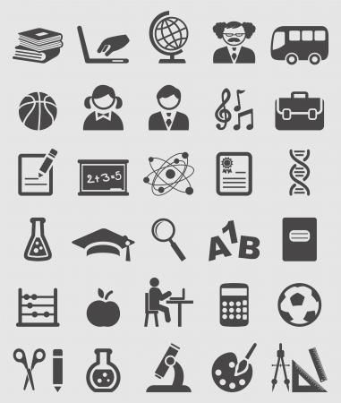 birrete: Iconos de la educación y de la escuela conjunto de vectores