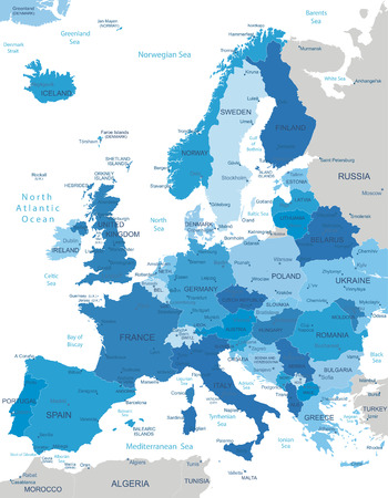 deutschland karte: Europa-sehr detaillierte Karte Alle Elemente werden in editierbare Schichten deutlich gekennzeichnet getrennt Illustration